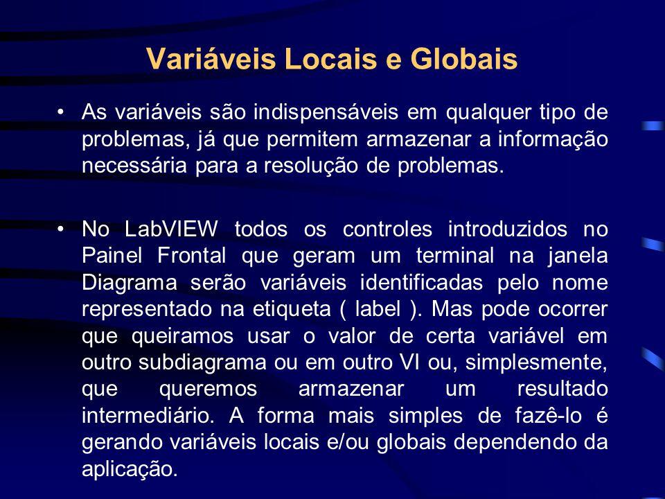 Variáveis Locais e Globais As variáveis são indispensáveis em qualquer tipo de problemas, já que permitem armazenar a informação necessária para a resolução de problemas.