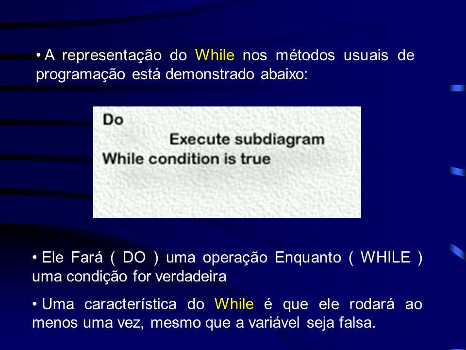 A representação do While nos métodos usuais de programação está demonstrado abaixo: Ele Fará ( DO ) uma operação Enquanto ( WHILE ) uma condição for verdadeira Uma característica do While é que ele rodará ao menos uma vez, mesmo que a variável seja falsa.