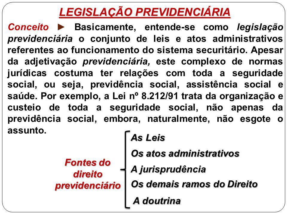 LEGISLAÇÃO PREVIDENCIÁRIA Conceito ► Basicamente, entende-se como legislação previdenciária o conjunto de leis e atos administrativos referentes ao funcionamento do sistema securitário.
