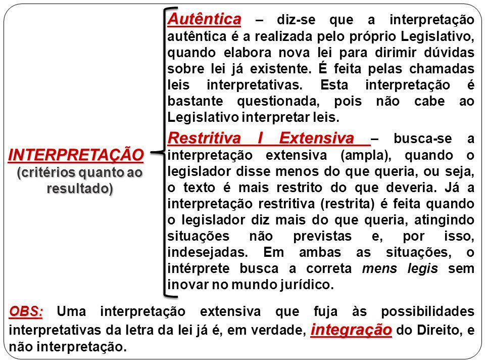 INTERPRETAÇÃO (critérios quanto ao resultado) Autêntica Autêntica – diz-se que a interpretação autêntica é a realizada pelo próprio Legislativo, quando elabora nova lei para dirimir dúvidas sobre lei já existente.