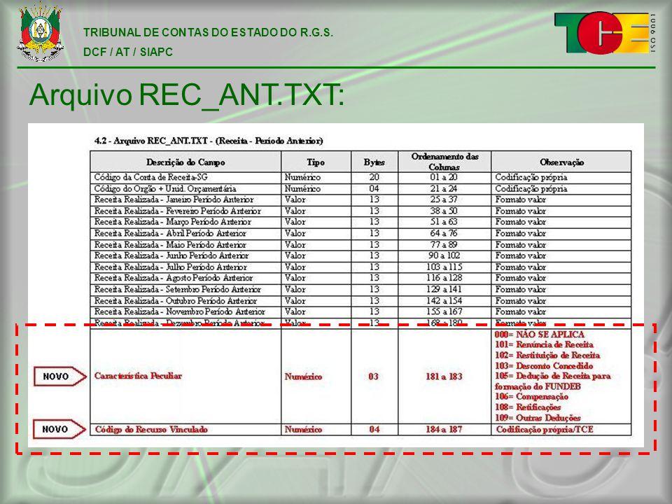 TRIBUNAL DE CONTAS DO ESTADO DO R.G.S. DCF / AT / SIAPC Arquivo REC_ANT.TXT: