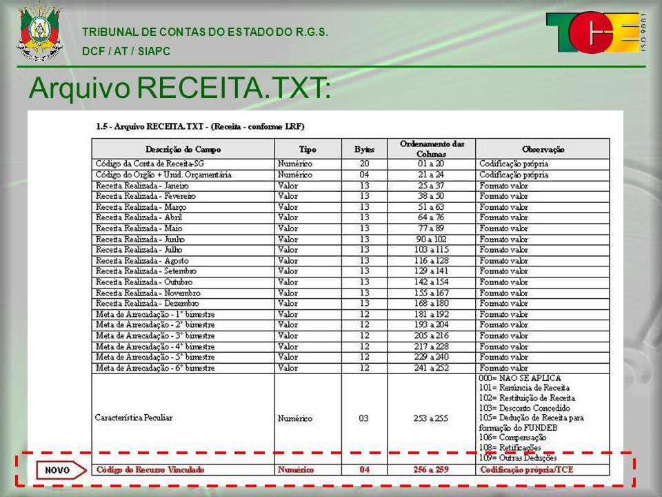 TRIBUNAL DE CONTAS DO ESTADO DO R.G.S. DCF / AT / SIAPC Arquivo RECEITA.TXT: