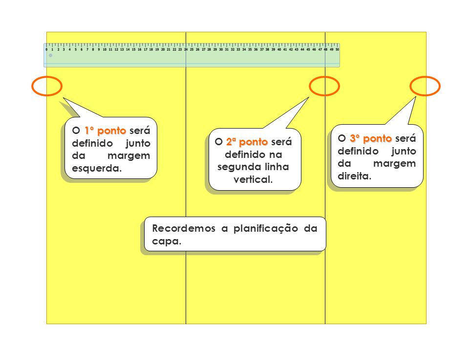 1º ponto O 1º ponto será definido junto da margem esquerda. 2ª ponto O 2ª ponto será definido na segunda linha vertical. 3º ponto O 3º ponto será defi