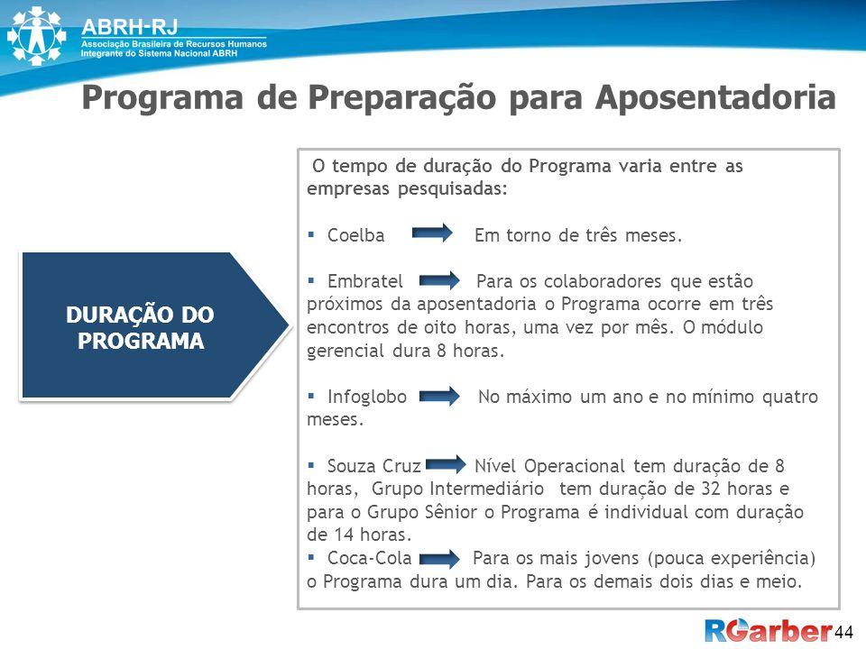 44 Programa de Preparação para Aposentadoria O tempo de duração do Programa varia entre as empresas pesquisadas:  Coelba Em torno de três meses.  Em