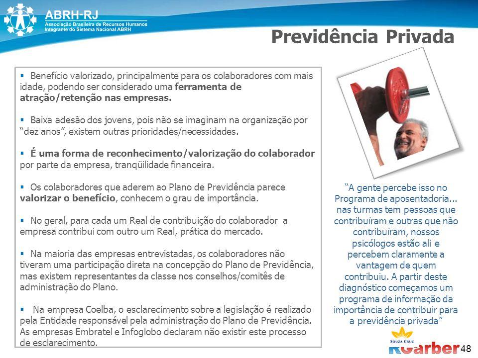 48 Previdência Privada  Benefício valorizado, principalmente para os colaboradores com mais idade, podendo ser considerado uma ferramenta de atração/retenção nas empresas.