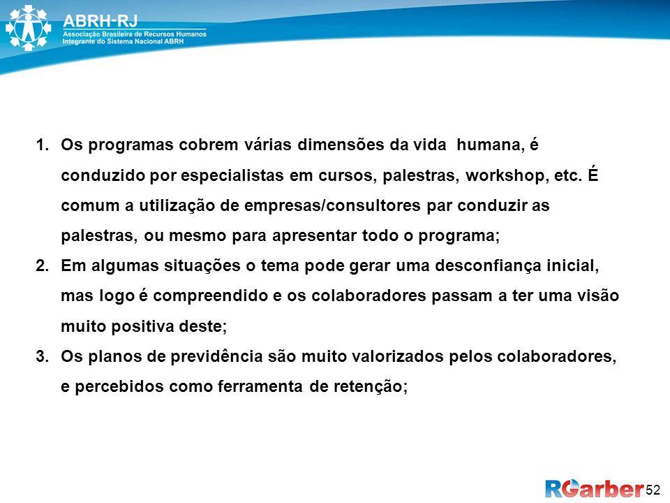 52 1.Os programas cobrem várias dimensões da vida humana, é conduzido por especialistas em cursos, palestras, workshop, etc.