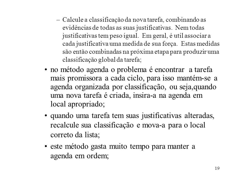 19 –Calcule a classificação da nova tarefa, combinando as evidências de todas as suas justificativas. Nem todas justificativas tem peso igual. Em gera