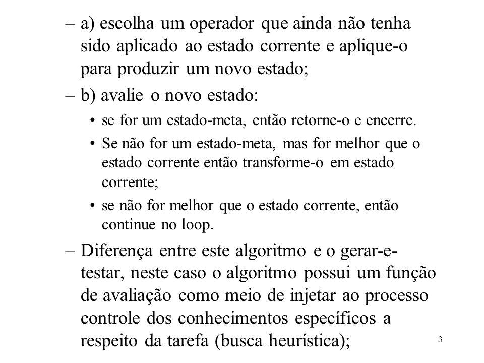 3 –a) escolha um operador que ainda não tenha sido aplicado ao estado corrente e aplique-o para produzir um novo estado; –b) avalie o novo estado: se