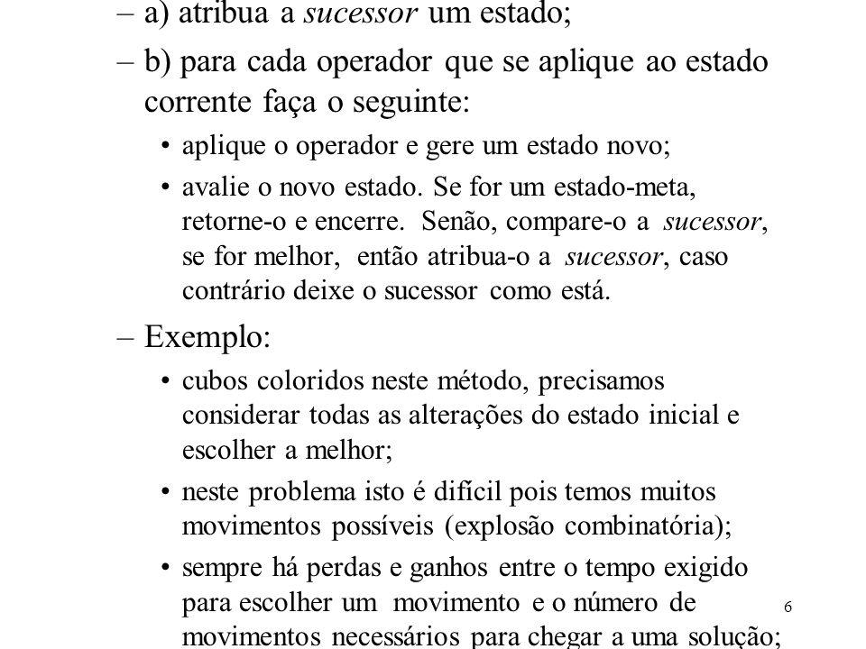 6 –a) atribua a sucessor um estado; –b) para cada operador que se aplique ao estado corrente faça o seguinte: aplique o operador e gere um estado novo