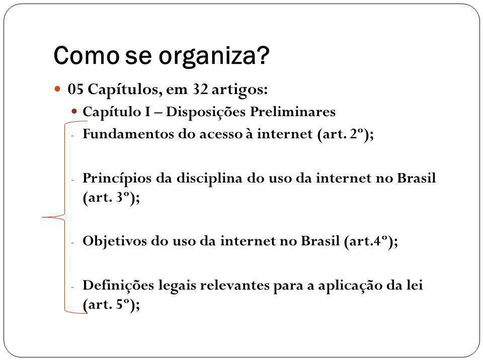 Como se organiza? 05 Capítulos, em 32 artigos: Capítulo I – Disposições Preliminares - Fundamentos do acesso à internet (art. 2º); - Princípios da dis