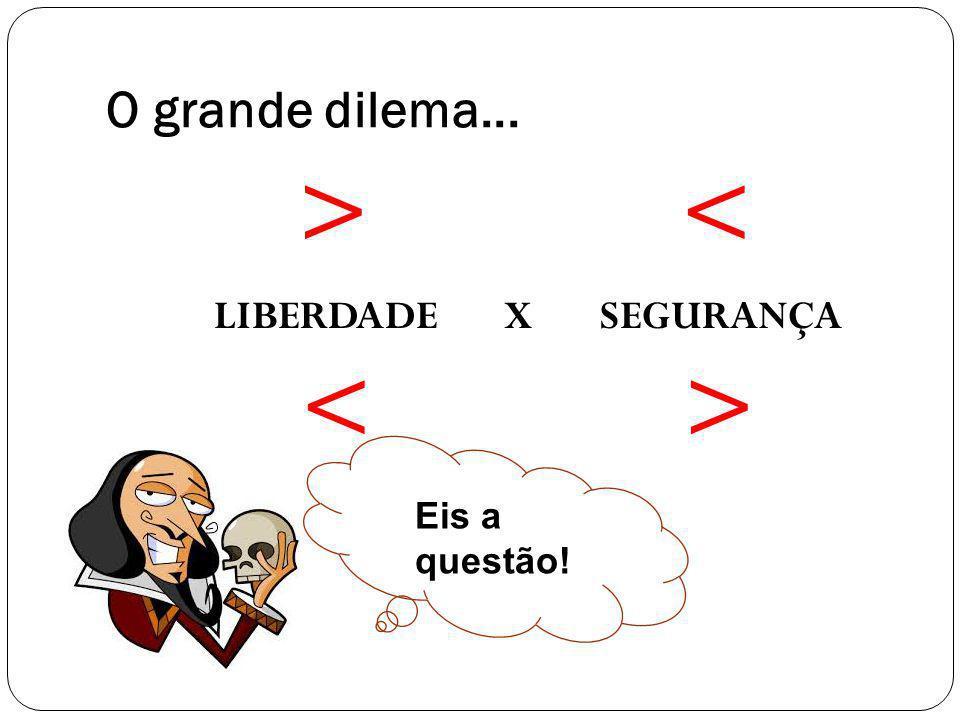 EIS A QUESTÃOO! O grande dilema... > < LIBERDADE X SEGURANÇA Eis a questão!
