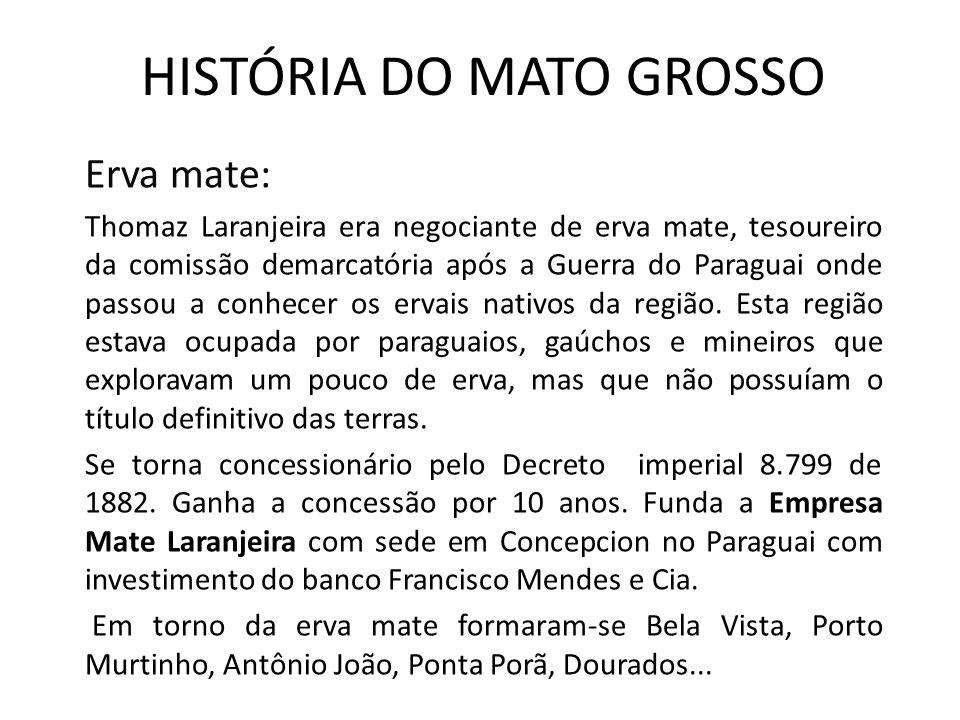 HISTÓRIA DO MATO GROSSO Erva mate: Thomaz Laranjeira era negociante de erva mate, tesoureiro da comissão demarcatória após a Guerra do Paraguai onde passou a conhecer os ervais nativos da região.