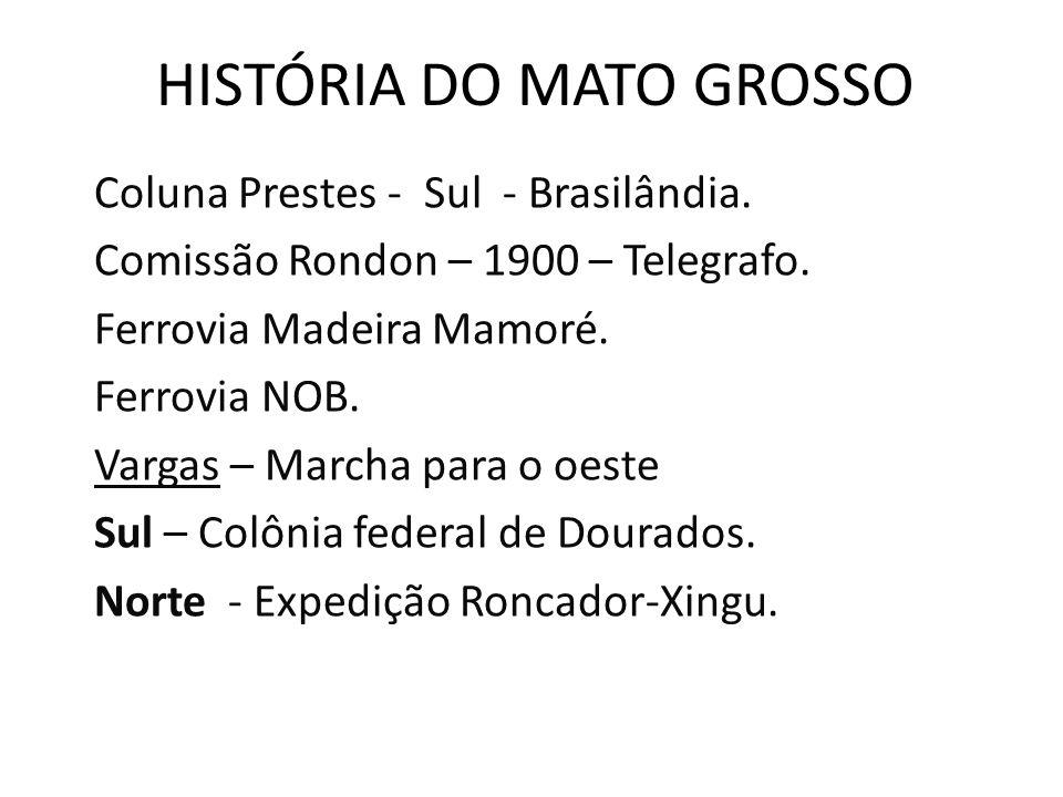 HISTÓRIA DO MATO GROSSO Coluna Prestes - Sul - Brasilândia. Comissão Rondon – 1900 – Telegrafo. Ferrovia Madeira Mamoré. Ferrovia NOB. Vargas – Marcha