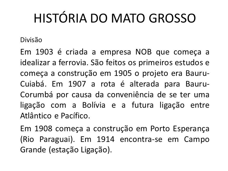 HISTÓRIA DO MATO GROSSO Divisão Em 1903 é criada a empresa NOB que começa a idealizar a ferrovia.
