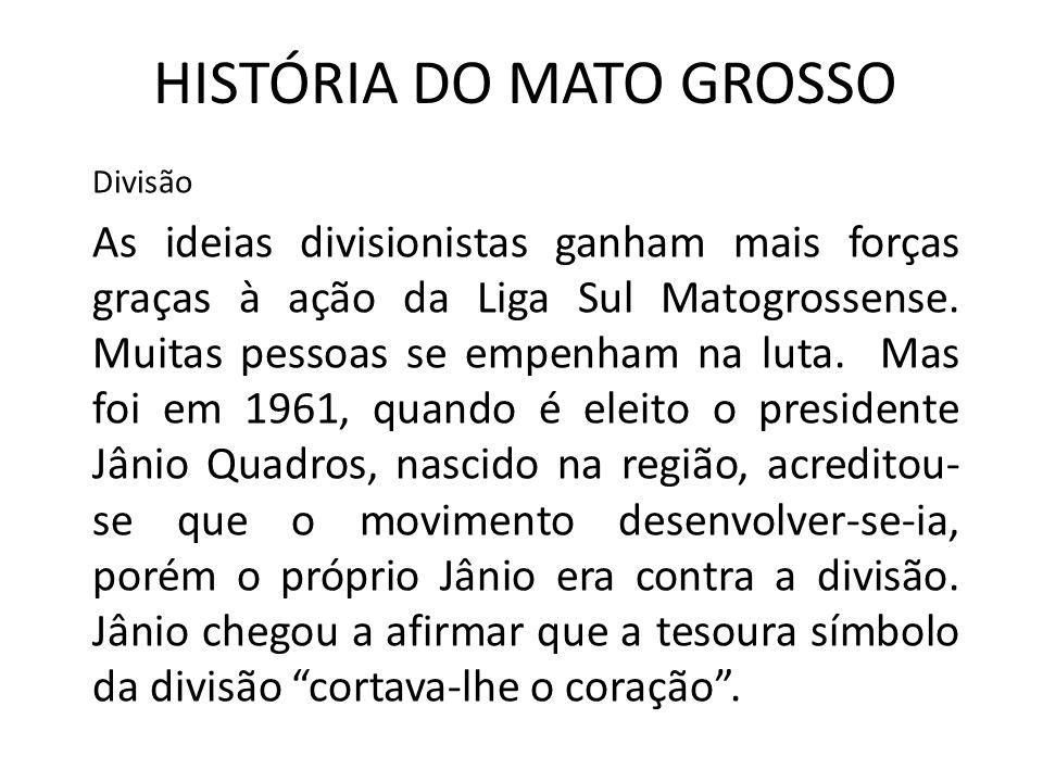 HISTÓRIA DO MATO GROSSO Divisão As ideias divisionistas ganham mais forças graças à ação da Liga Sul Matogrossense. Muitas pessoas se empenham na luta