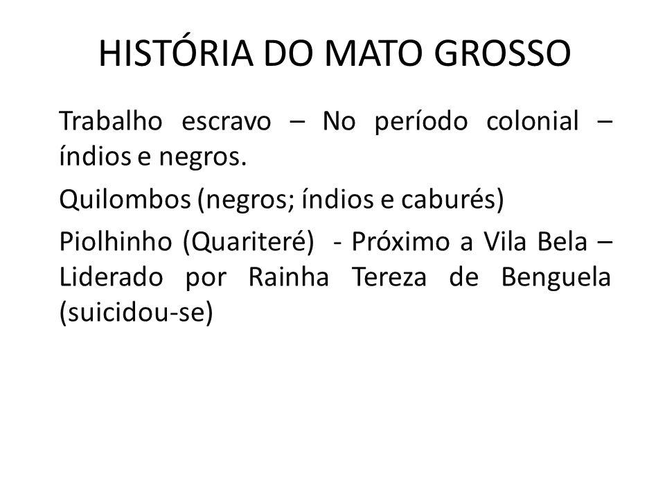 HISTÓRIA DO MATO GROSSO Trabalho escravo – No período colonial – índios e negros. Quilombos (negros; índios e caburés) Piolhinho (Quariteré) - Próximo