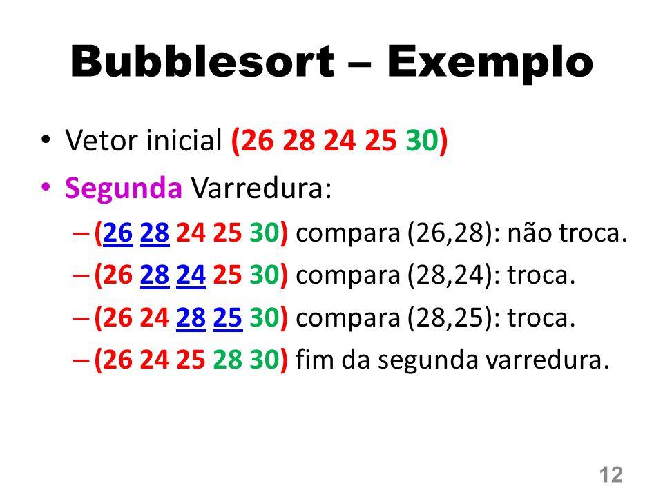 Bubblesort – Exemplo Vetor inicial (26 28 24 25 30) Segunda Varredura: – (26 28 24 25 30) compara (26,28): não troca. – (26 28 24 25 30) compara (28,2