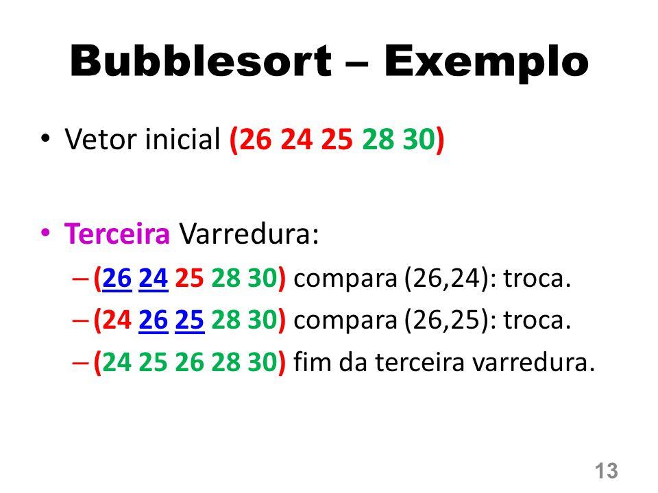 Bubblesort – Exemplo Vetor inicial (26 24 25 28 30) Terceira Varredura: – (26 24 25 28 30) compara (26,24): troca. – (24 26 25 28 30) compara (26,25):