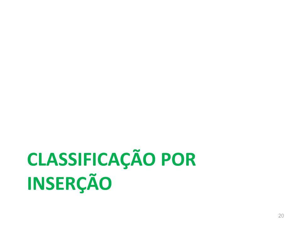CLASSIFICAÇÃO POR INSERÇÃO 20