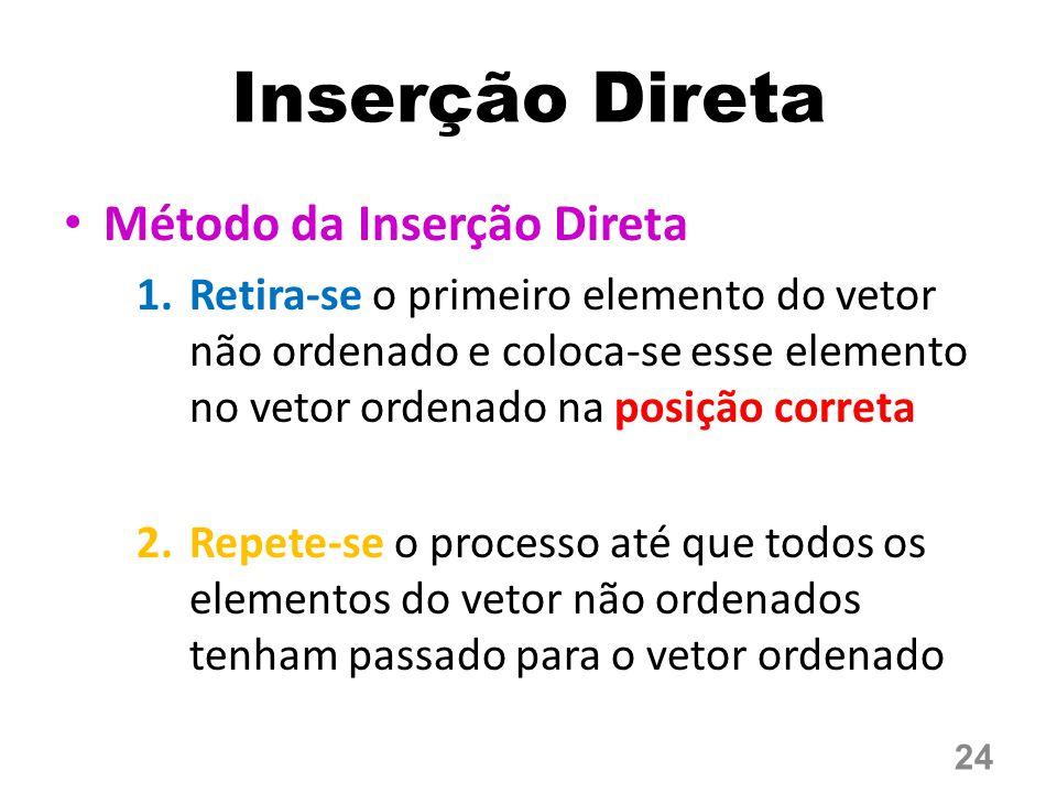 Método da Inserção Direta 1.Retira-se o primeiro elemento do vetor não ordenado e coloca-se esse elemento no vetor ordenado na posição correta 2.Repete-se o processo até que todos os elementos do vetor não ordenados tenham passado para o vetor ordenado Inserção Direta 24