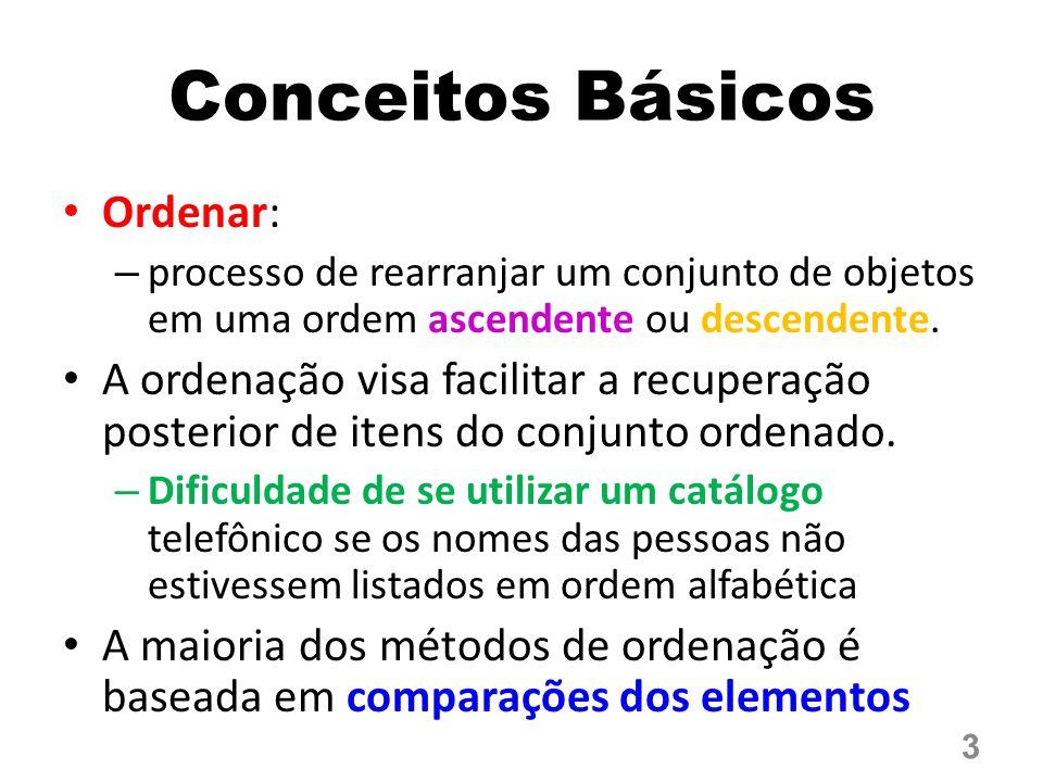 Método: – A cada passo, o elemento de menor (ou maior) valor é selecionado e colocado em sua posição correta dentro do vetor classificado – Esse processo é repetido para o segmento do vetor que contém os elementos ainda não selecionados.