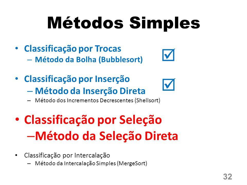 Métodos Simples Classificação por Trocas – Método da Bolha (Bubblesort) Classificação por Inserção – Método da Inserção Direta – Método dos Incrementos Decrescentes (Shellsort) Classificação por Seleção – Método da Seleção Direta Classificação por Intercalação – Método da Intercalação Simples (MergeSort) 32  