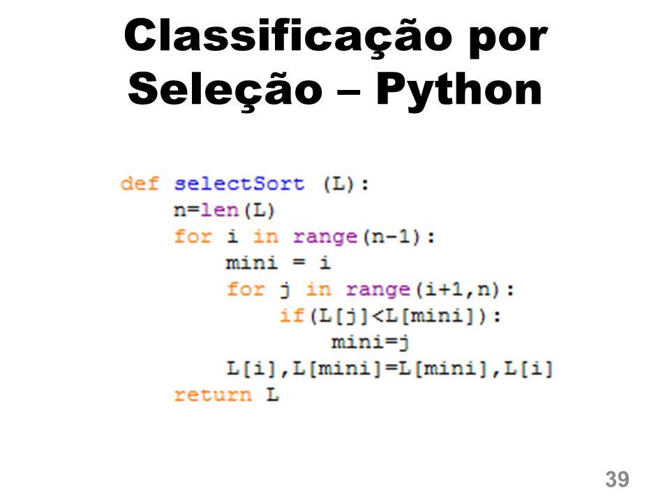 Classificação por Seleção – Python 39