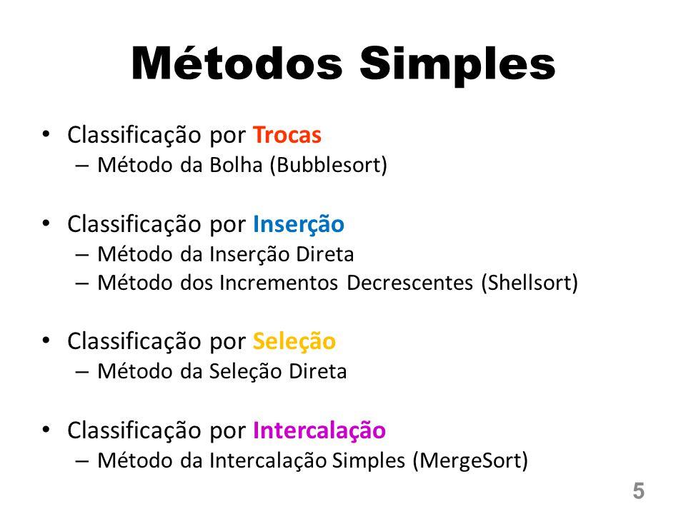 Métodos Simples Classificação por Trocas – Método da Bolha (Bubblesort) Classificação por Inserção – Método da Inserção Direta – Método dos Incrementos Decrescentes (Shellsort) Classificação por Seleção – Método da Seleção Direta Classificação por Intercalação – Método da Intercalação Simples (MergeSort) 5