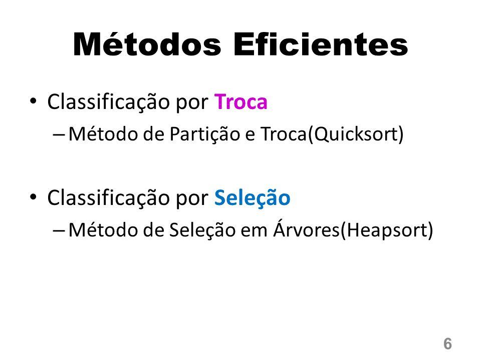 Métodos Eficientes Classificação por Troca – Método de Partição e Troca(Quicksort) Classificação por Seleção – Método de Seleção em Árvores(Heapsort)
