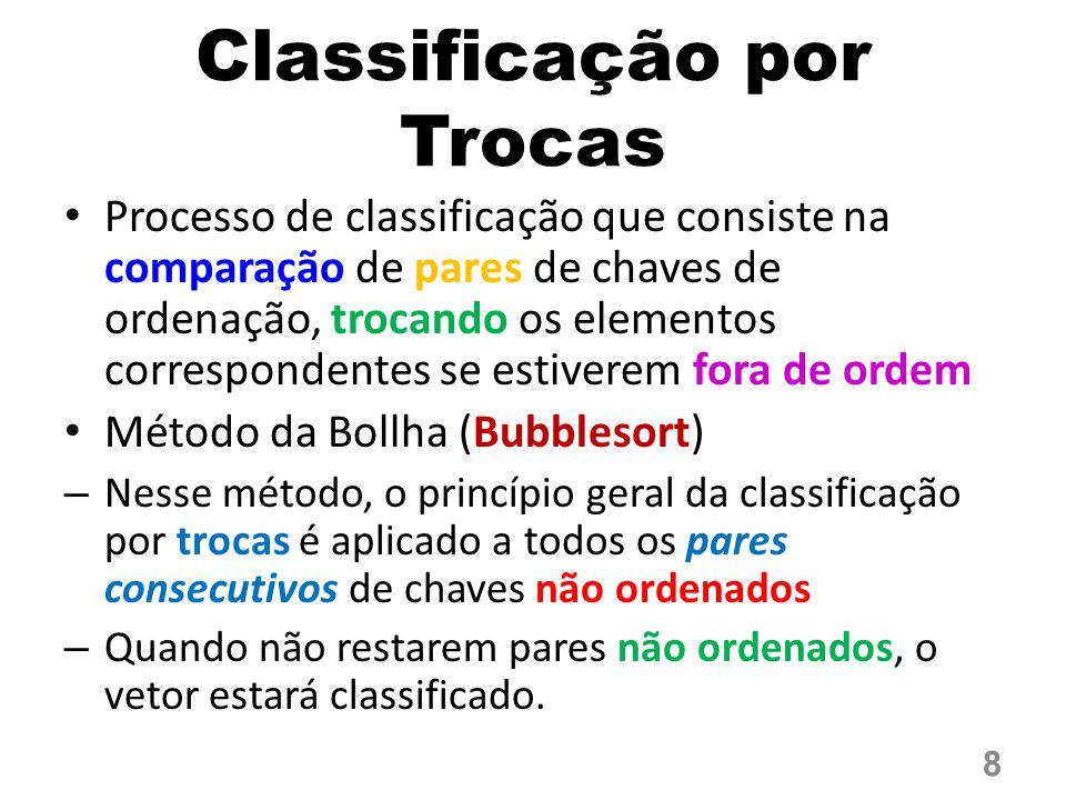 Classificação por Trocas Processo de classificação que consiste na comparação de pares de chaves de ordenação, trocando os elementos correspondentes s