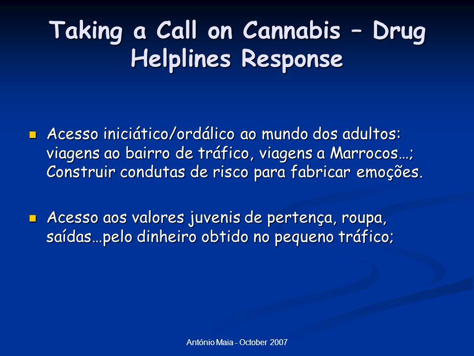 António Maia - October 2007 Taking a Call on Cannabis – Drug Helplines Response Acesso iniciático/ordálico ao mundo dos adultos: viagens ao bairro de tráfico, viagens a Marrocos…; Construir condutas de risco para fabricar emoções.