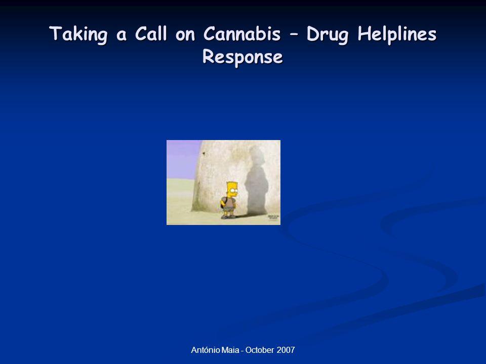 António Maia - October 2007 Taking a Call on Cannabis – Drug Helplines Response Cannabis : Efeitos psicológicos: Cannabis : Efeitos psicológicos: relaxação; relaxação; desinibição; desinibição; hilariedade; hilariedade; lentificação; lentificação; sonolência; sonolência; dificuldade na execução de tarefas complexas dificuldade na execução de tarefas complexas