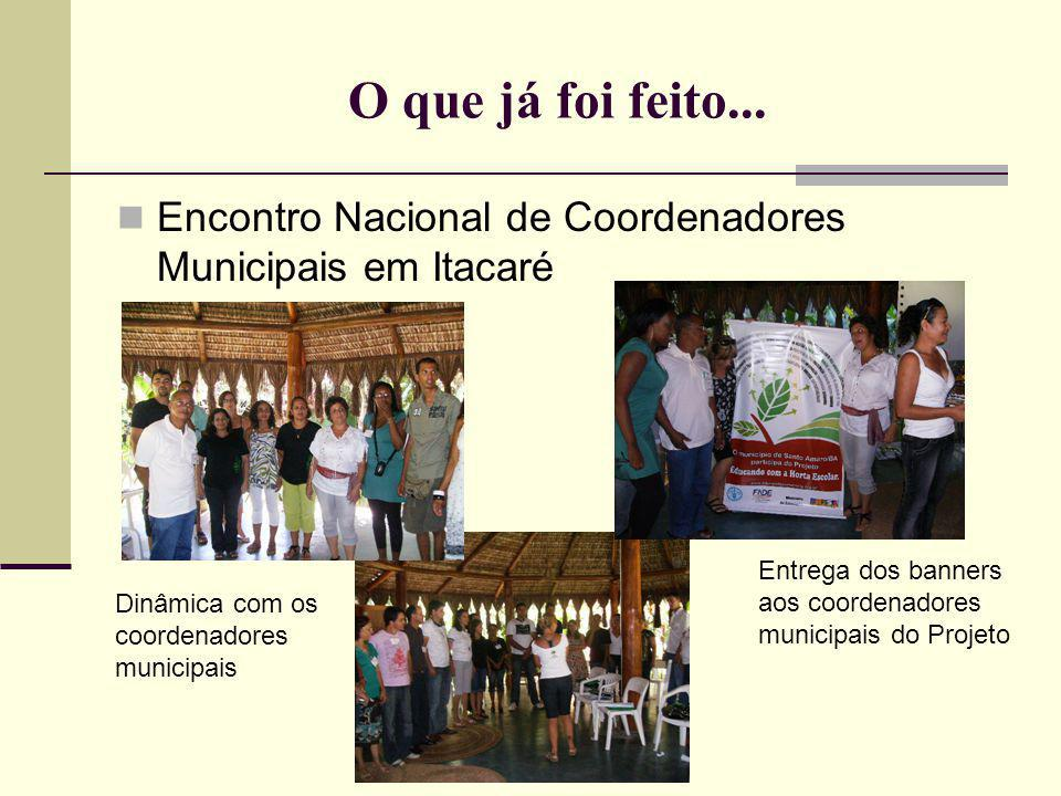 O que já foi feito... Encontro Nacional de Coordenadores Municipais em Itacaré Entrega dos banners aos coordenadores municipais do Projeto Dinâmica co