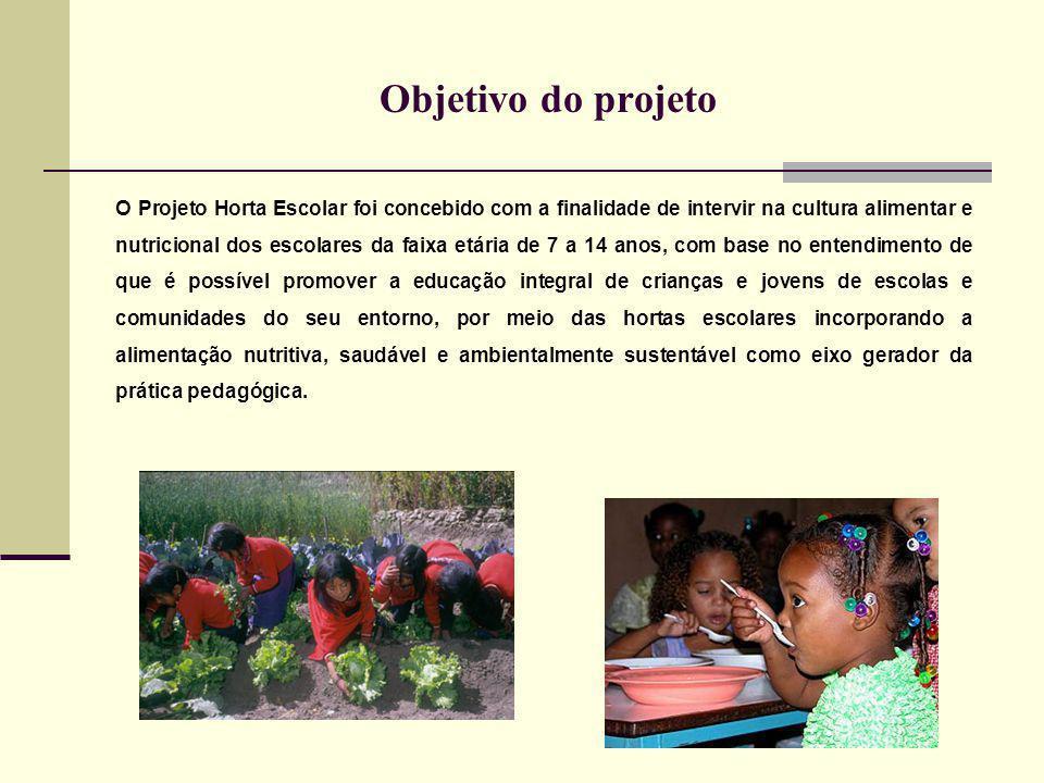 Objetivo do projeto O Projeto Horta Escolar foi concebido com a finalidade de intervir na cultura alimentar e nutricional dos escolares da faixa etári