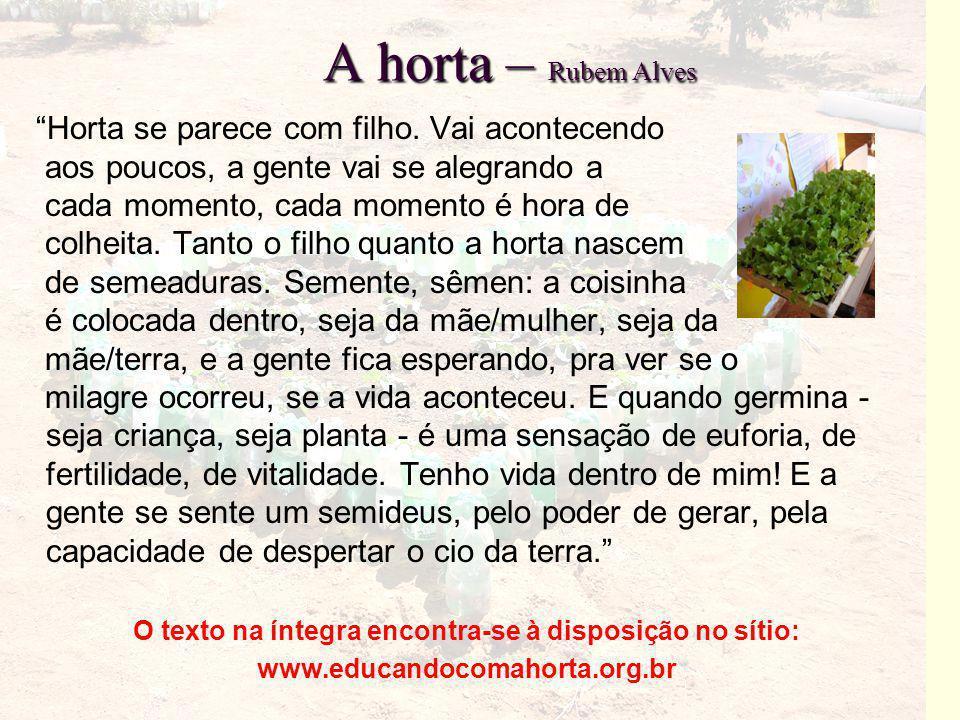 """A horta – Rubem Alves """"Horta se parece com filho. Vai acontecendo aos poucos, a gente vai se alegrando a cada momento, cada momento é hora de colheita"""