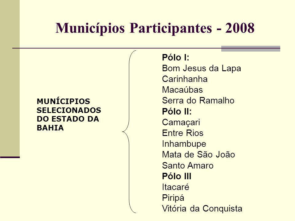 Pólo I: Bom Jesus da Lapa Carinhanha Macaúbas Serra do Ramalho Pólo II: Camaçari Entre Rios Inhambupe Mata de São João Santo Amaro Pólo III Itacaré Pi