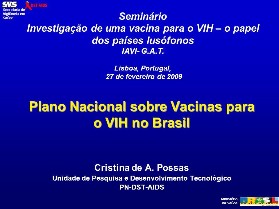 Ministério da Saúde Secretaria de Vigilância em Saúde Política Brasileira de C & T em DST-HIV/Aids: Incentivo à Inovação e Apoio ao Acesso Universal a Insumos Estratégicos O PN-DST-AIDS investiu nos últimos 4 anos cerca de US$ 24,5 milhões em C& T (Programa AIDS III– Recursos Federais e do Banco Mundial); 13 Chamadas Nacionais e Regionais de Pesquisa já foram lançadas nas áreas clínica e clínico- epidemiológica, epidemiológica, comportamental, social e em vacinas anti-HIV.
