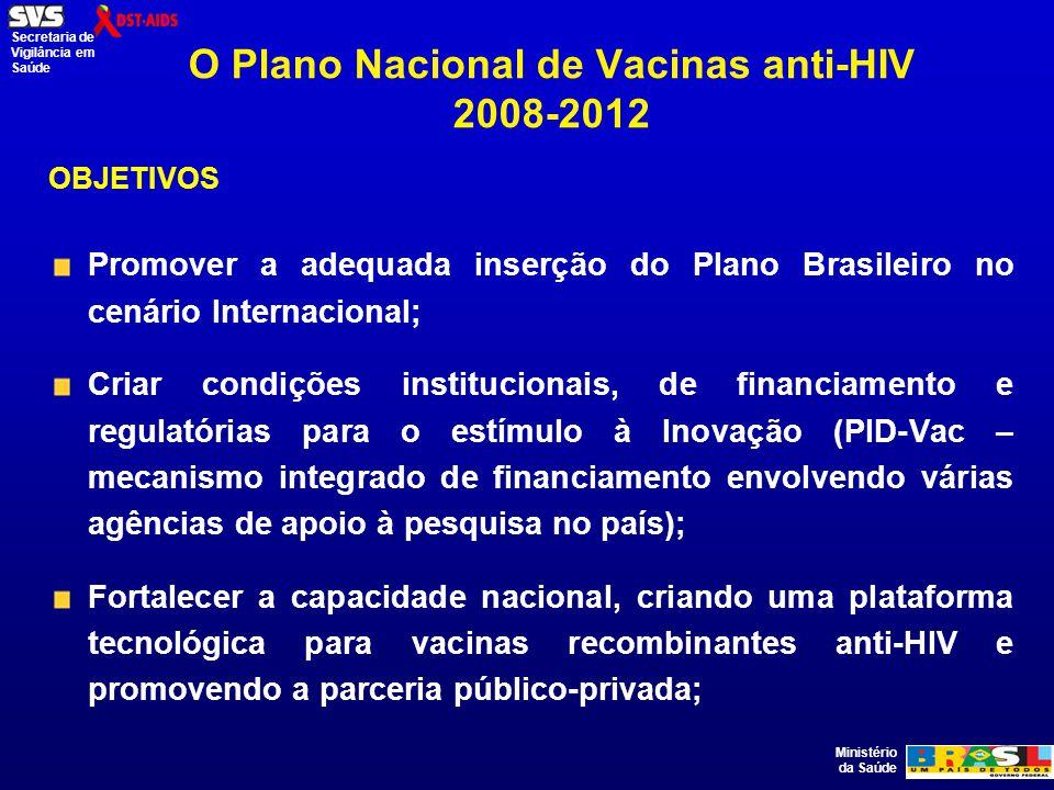 Ministério da Saúde Secretaria de Vigilância em Saúde O Plano Nacional de Vacinas anti-HIV 2008-2012 OBJETIVOS Promover a adequada inserção do Plano Brasileiro no cenário Internacional; Criar condições institucionais, de financiamento e regulatórias para o estímulo à Inovação (PID-Vac – mecanismo integrado de financiamento envolvendo várias agências de apoio à pesquisa no país); Fortalecer a capacidade nacional, criando uma plataforma tecnológica para vacinas recombinantes anti-HIV e promovendo a parceria público-privada;