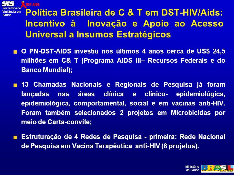 Ministério da Saúde Secretaria de Vigilância em Saúde Colaboração brasileira com os países da CPLP em VIH/SIDA O maior desafio é ir além das ações no campo dos medicamentos ARV e fortalecer a cooperação no campo das vacinas anti-HIV; Iniciativas em Moçambique e Angola – medicamentos ARV; Rede de Pesquisa em Propriedade Intelectual com os Países de Língua Portuguesa – lançada no Primeiro Seminário Internacional de Propriedade Intelectual nos Países de Língua Portuguesa na UFRJ, no Rio de Janeiro (livro em fase de conclusão); 2º Congresso da CPLP sobre DST/AIDS – no Rio de Janeiro, 14 a 17 de abril de 2008.