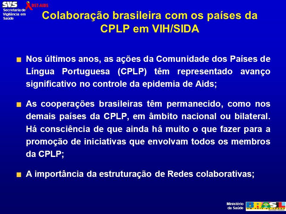 Ministério da Saúde Secretaria de Vigilância em Saúde Colaboração brasileira com os países da CPLP em VIH/SIDA Nos últimos anos, as ações da Comunidade dos Países de Língua Portuguesa (CPLP) têm representado avanço significativo no controle da epidemia de Aids; As cooperações brasileiras têm permanecido, como nos demais países da CPLP, em âmbito nacional ou bilateral.