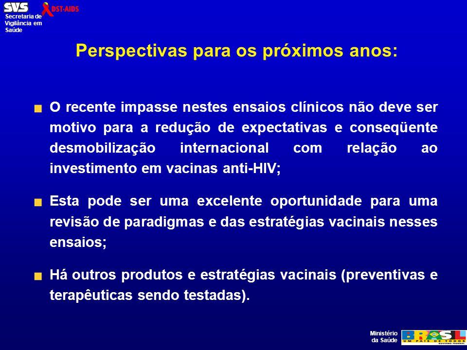 Ministério da Saúde Secretaria de Vigilância em Saúde Perspectivas para os próximos anos: O recente impasse nestes ensaios clínicos não deve ser motivo para a redução de expectativas e conseqüente desmobilização internacional com relação ao investimento em vacinas anti-HIV; Esta pode ser uma excelente oportunidade para uma revisão de paradigmas e das estratégias vacinais nesses ensaios; Há outros produtos e estratégias vacinais (preventivas e terapêuticas sendo testadas).