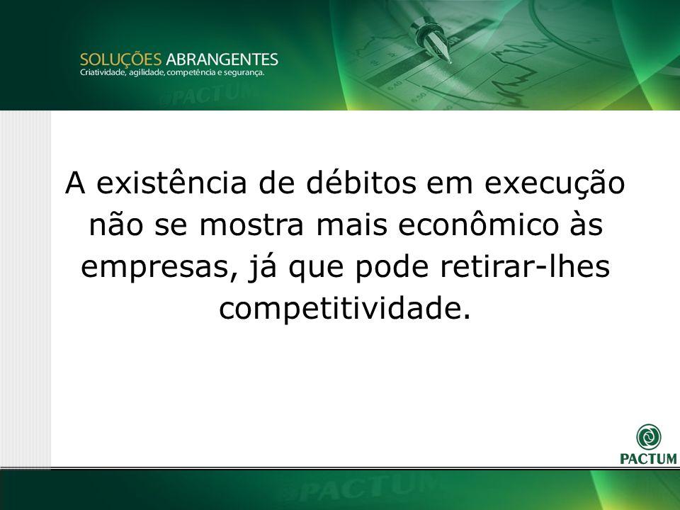 8 A existência de débitos em execução não se mostra mais econômico às empresas, já que pode retirar-lhes competitividade.
