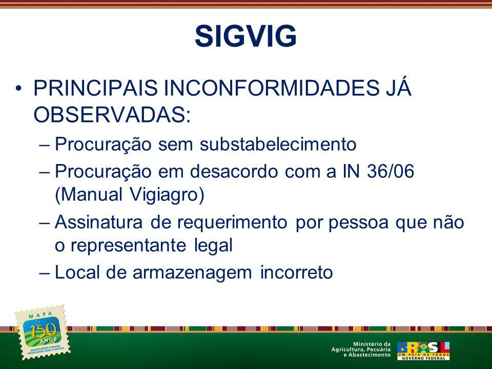 SIGVIG PRINCIPAIS INCONFORMIDADES JÁ OBSERVADAS: –Procuração sem substabelecimento –Procuração em desacordo com a IN 36/06 (Manual Vigiagro) –Assinatu