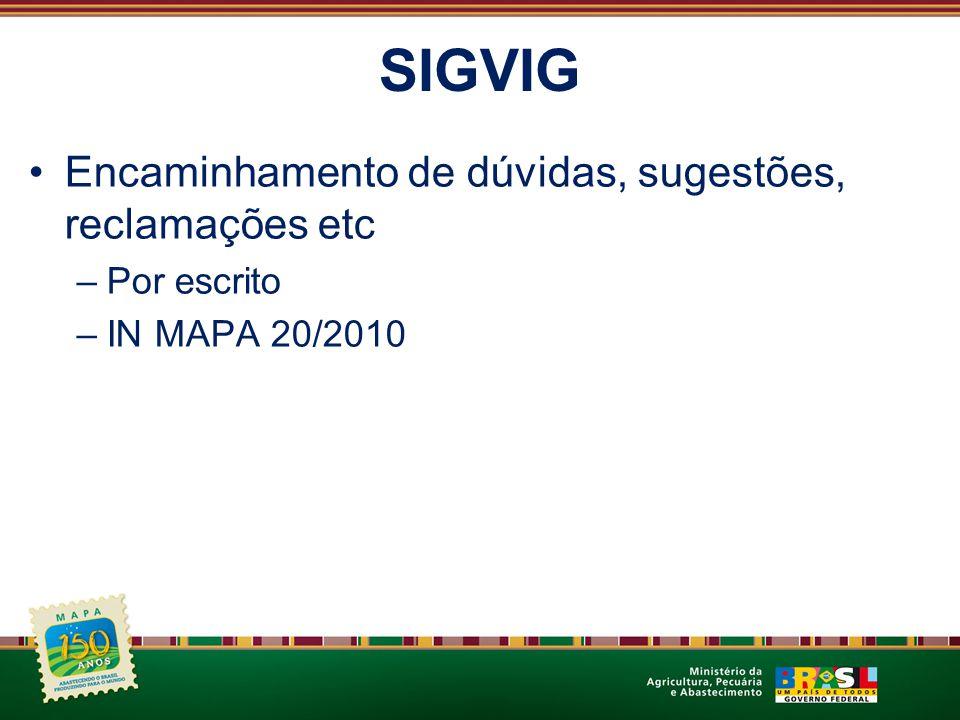SIGVIG Encaminhamento de dúvidas, sugestões, reclamações etc –Por escrito –IN MAPA 20/2010