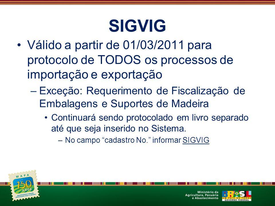 SIGVIG Válido a partir de 01/03/2011 para protocolo de TODOS os processos de importação e exportação –Exceção: Requerimento de Fiscalização de Embalag