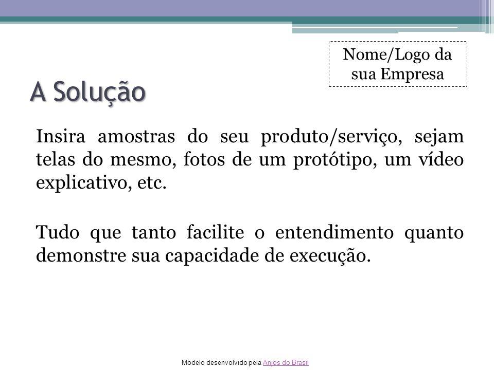 Modelo desenvolvido pela Anjos do BrasilAnjos do Brasil A Solução Insira amostras do seu produto/serviço, sejam telas do mesmo, fotos de um protótipo,
