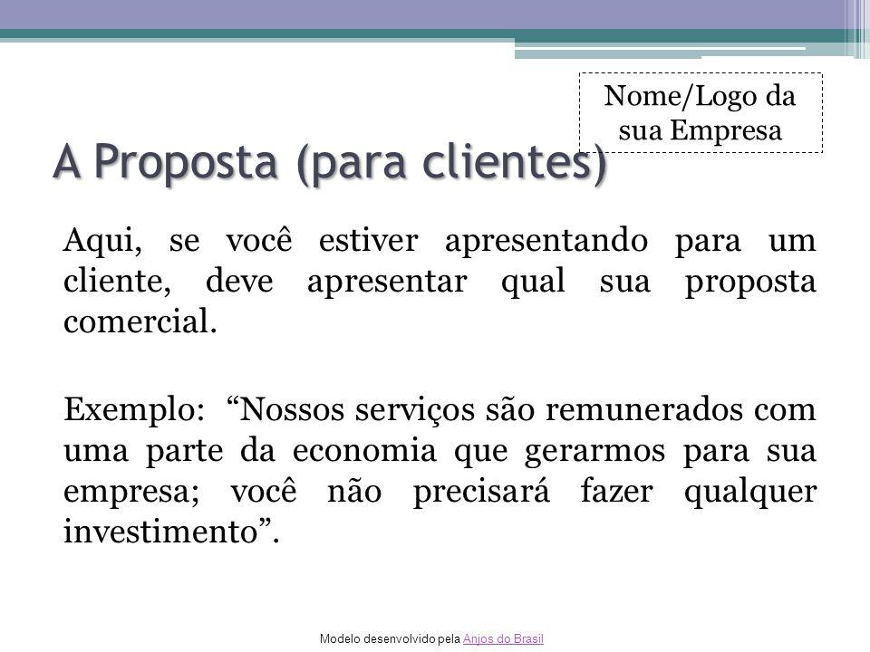 Modelo desenvolvido pela Anjos do BrasilAnjos do Brasil A Proposta (para clientes) Aqui, se você estiver apresentando para um cliente, deve apresentar