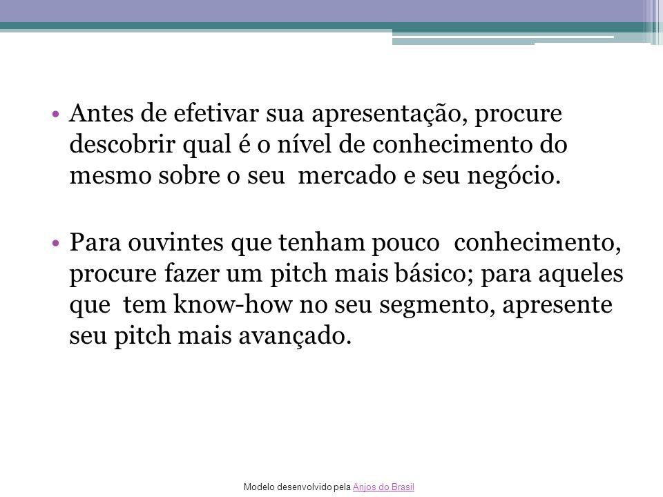 Modelo desenvolvido pela Anjos do BrasilAnjos do Brasil Antes de efetivar sua apresentação, procure descobrir qual é o nível de conhecimento do mesmo