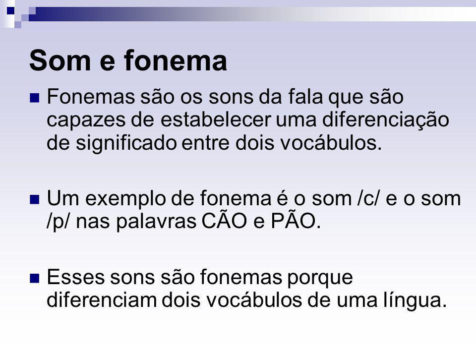 Som e fonema Fonemas são os sons da fala que são capazes de estabelecer uma diferenciação de significado entre dois vocábulos. Um exemplo de fonema é