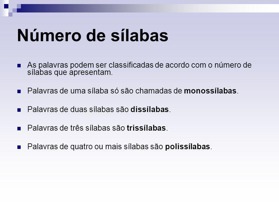Número de sílabas As palavras podem ser classificadas de acordo com o número de sílabas que apresentam. Palavras de uma sílaba só são chamadas de mono